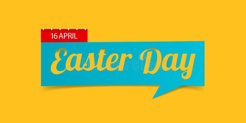 Bandera del día de Pascua aislada en fondo amarillo Plantilla del diseño de la bandera en el estilo de papel del arte del corte V libre illustration