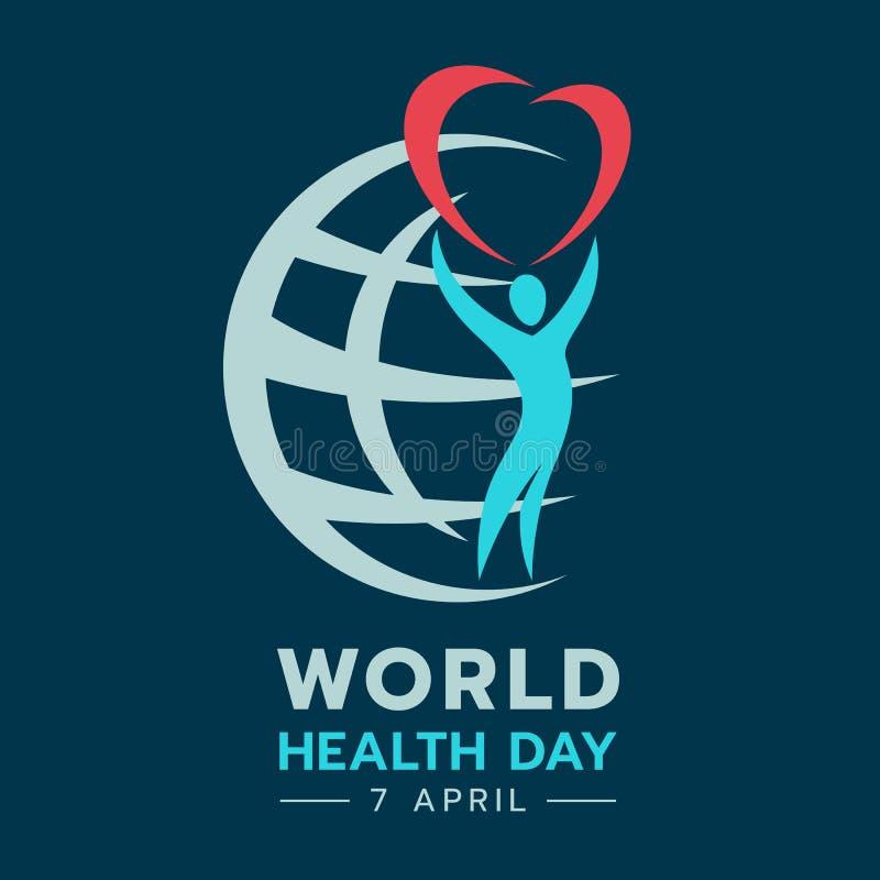 Bandera del día de salud de mundo con el corazón del control y el diseño humanos abstractos del vector de la muestra del mundo ilustración del vector