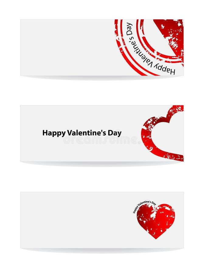 Bandera del día de tarjeta del día de San Valentín stock de ilustración