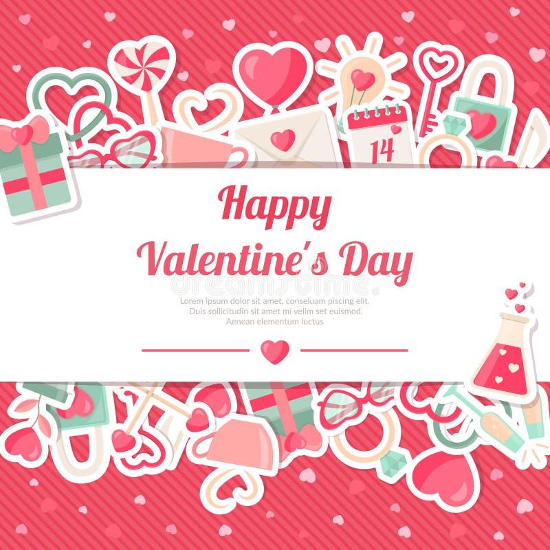 Bandera del día de tarjetas del día de San Valentín con las etiquetas engomadas planas de los iconos en fondo rosado ilustración del vector