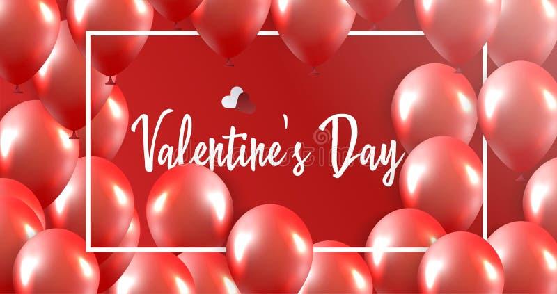 Bandera del día de tarjetas del día de San Valentín ilustración del vector