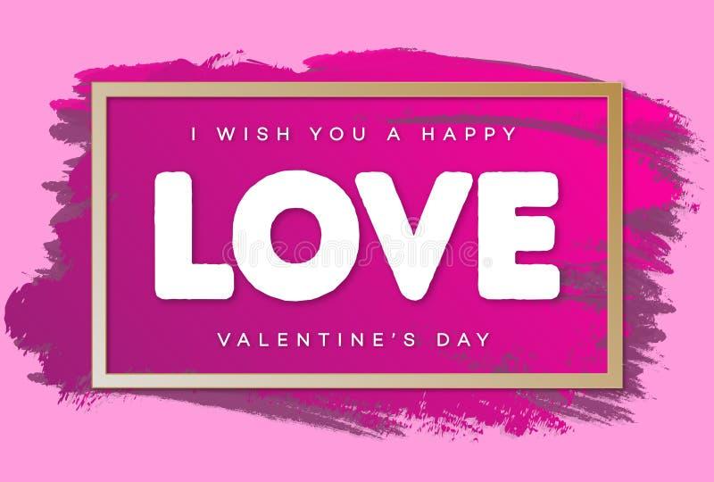 Bandera del día de tarjetas del día de San Valentín con deseos y muestra - ame en el color del rosa del fondo de la acuarela para ilustración del vector