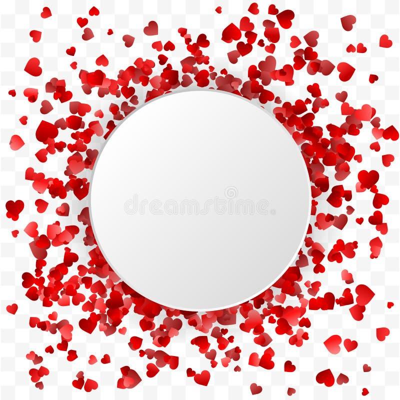 Bandera del día de tarjetas del día de San Valentín Bandera redonda del marco de los corazones en el fondo blanco Ilustración del libre illustration