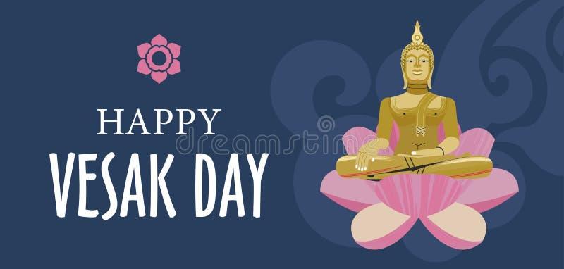 Bandera del día de Vesak con los pétalos del oro Buda y de Lotus Ilustración del vector stock de ilustración