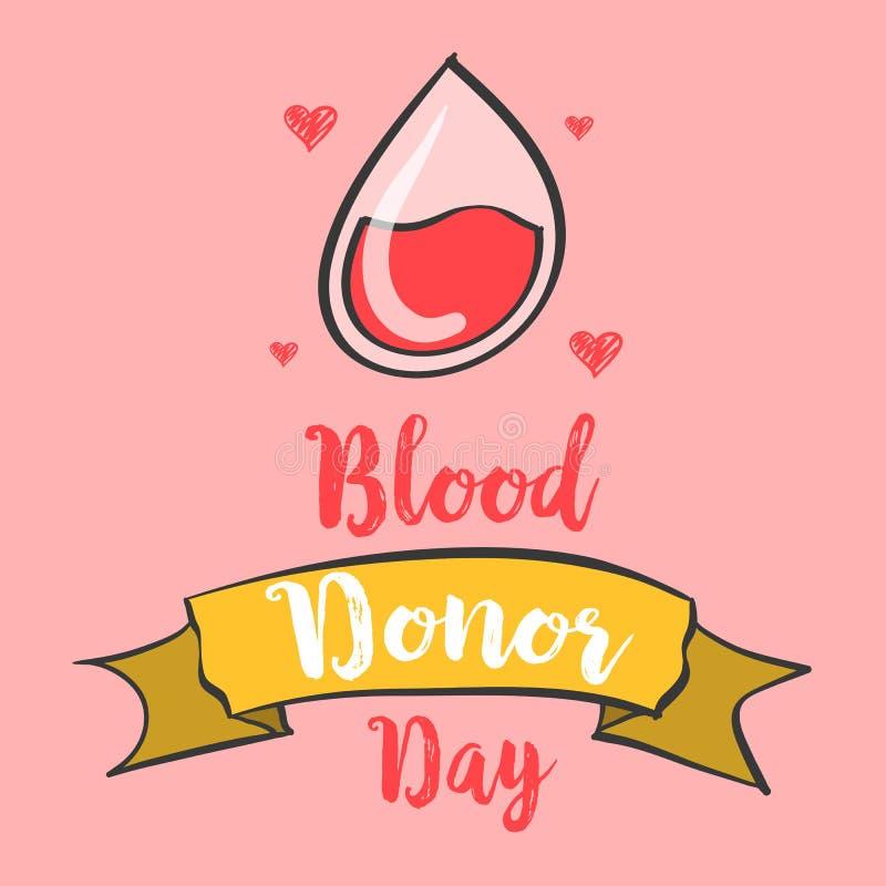 Bandera del día del donante de sangre del drenaje de la mano libre illustration