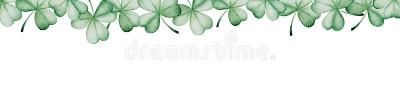 Bandera del día del ` s de St Patrick de la acuarela Ornamento del trébol Para el diseño, la impresión o el fondo stock de ilustración