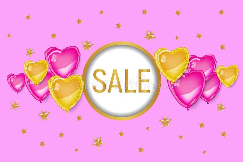 Bandera del descuento del día de tarjeta del día de San Valentín que hace compras, rosa imágenes de archivo libres de regalías