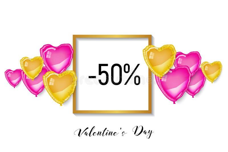 Bandera del descuento de día de San Valentín que hace compras, corazones 3d fotografía de archivo libre de regalías