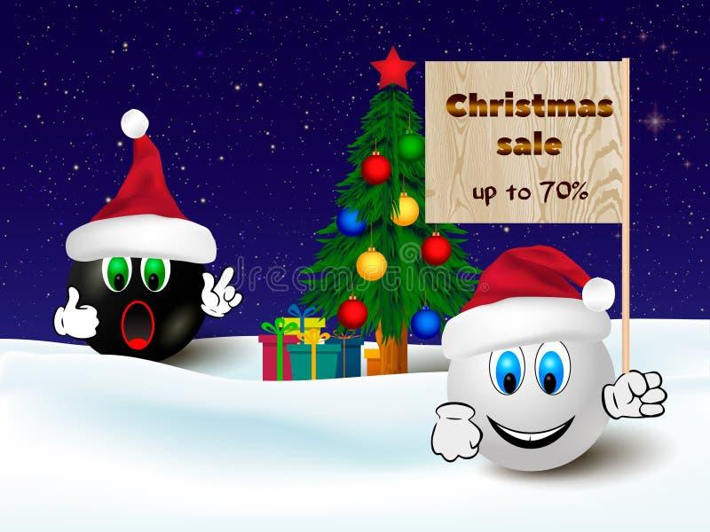 Bandera del descuento de la venta de la Navidad, cartel que hace compras con dos emoticons divertidos ilustración del vector
