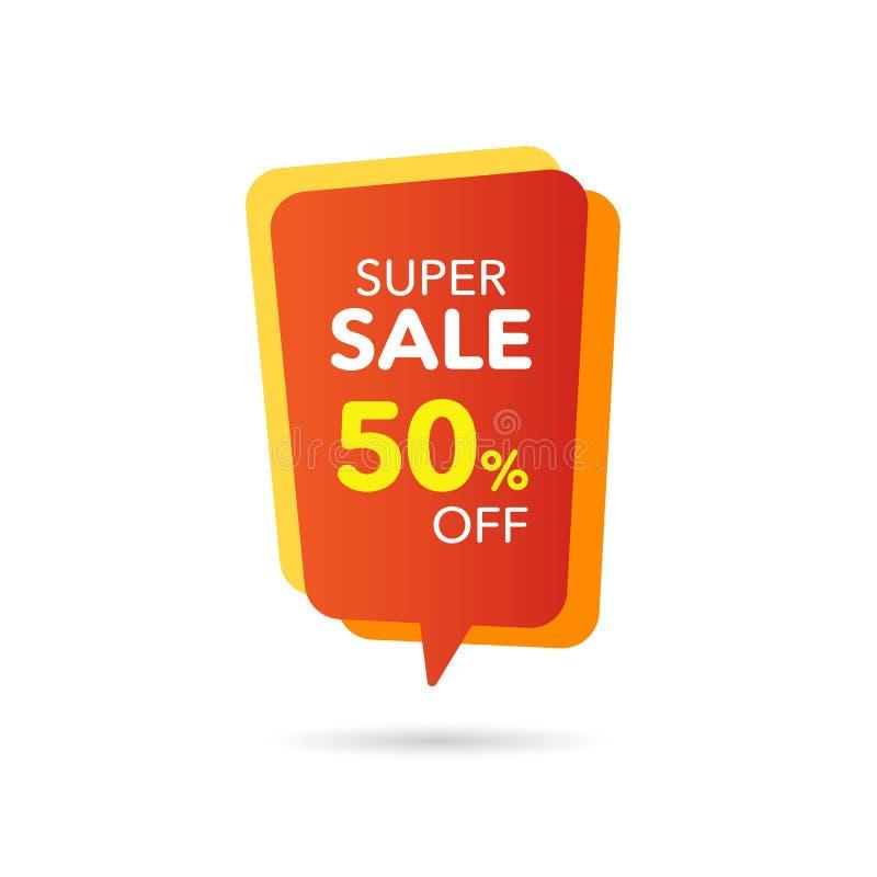 Bandera del descuento de la venta Precio de la oferta del descuento Etiqueta del amarillo anaranjado de la venta de la oferta esp stock de ilustración
