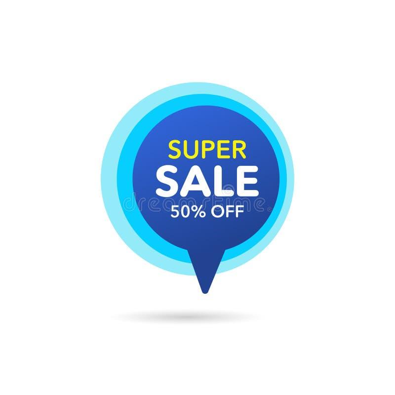 Bandera del descuento de la venta Precio de la oferta del descuento Etiqueta azul de la venta de la oferta especial Ejemplo moder stock de ilustración