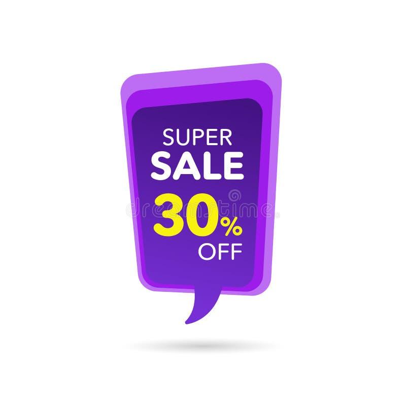 Bandera del descuento de la venta Precio de la oferta del descuento Etiqueta púrpura de la venta de la oferta especial Ejemplo mo stock de ilustración