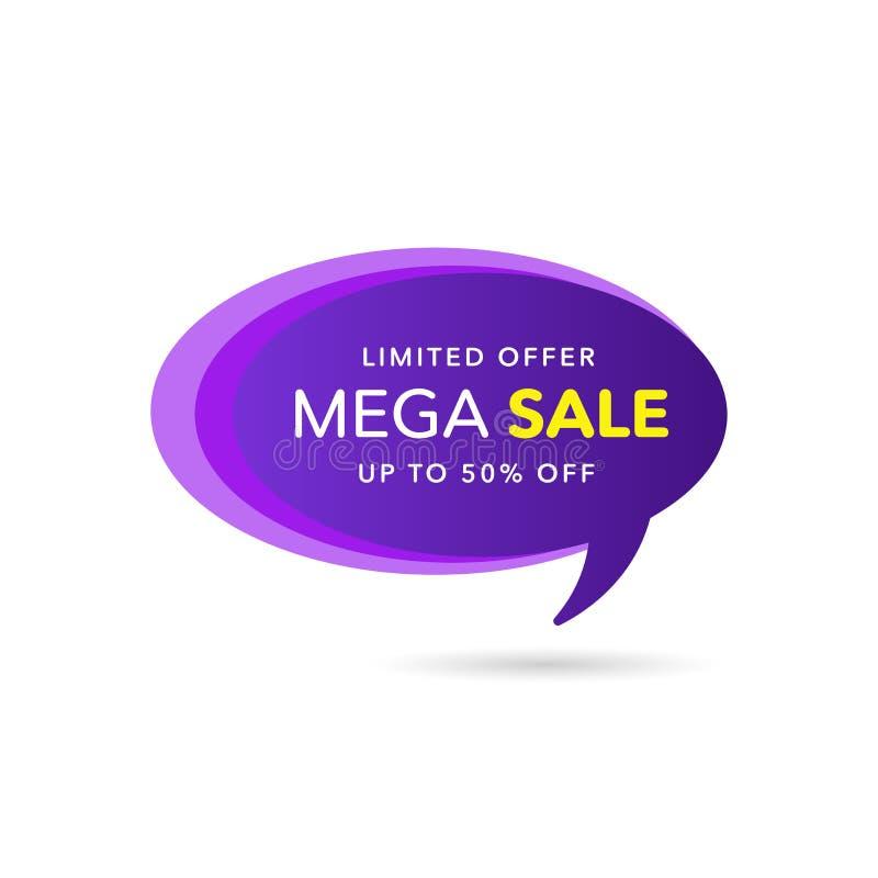 Bandera del descuento de la venta Precio de la oferta del descuento Etiqueta púrpura de la venta de la oferta especial Ejemplo mo libre illustration