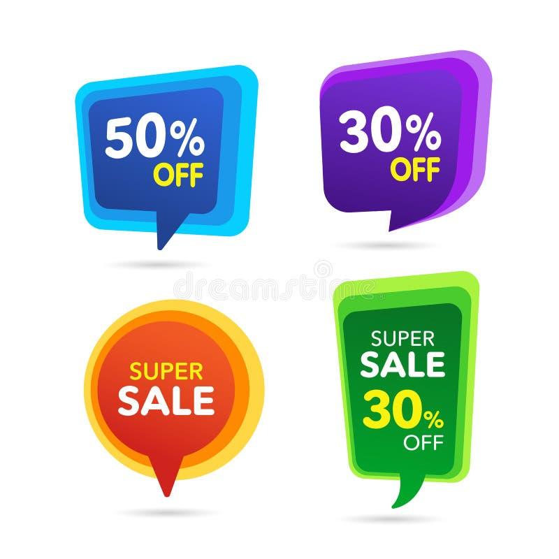 Bandera del descuento de la venta Precio de la oferta del descuento Venta púrpura, etiqueta azul, verde, amarilla de la oferta es ilustración del vector