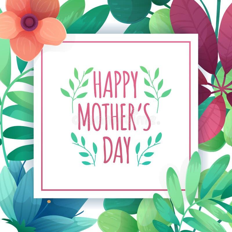 Bandera del designt de la plantilla para el día feliz del ` s de la madre Cartel cuadrado para el día de fiesta de la mamá con la libre illustration