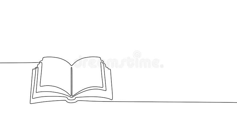 Bandera del dibujo lineal del libro uno Diseño minimalista exhausto del minimalismo de la mano continua aislado en el ejemplo bla libre illustration