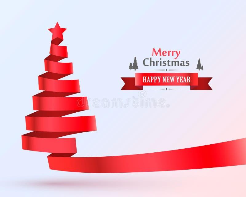 Bandera del diseño de la cinta del árbol de navidad stock de ilustración