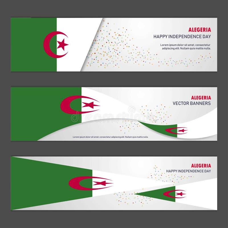 Bandera del diseño del fondo del extracto del Día de la Independencia de Alegeria y libre illustration