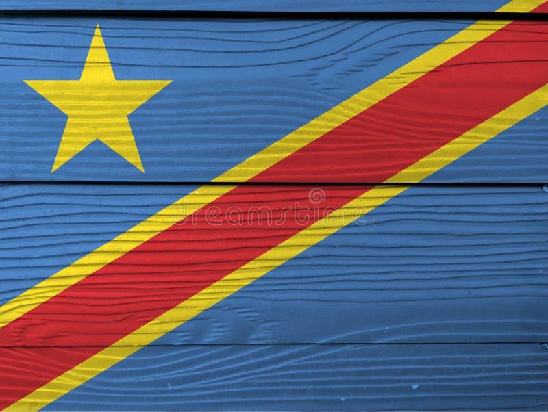 Bandera del Dr. Congo en fondo de madera de la pared Textura de la bandera del Dr. Congo del Grunge foto de archivo