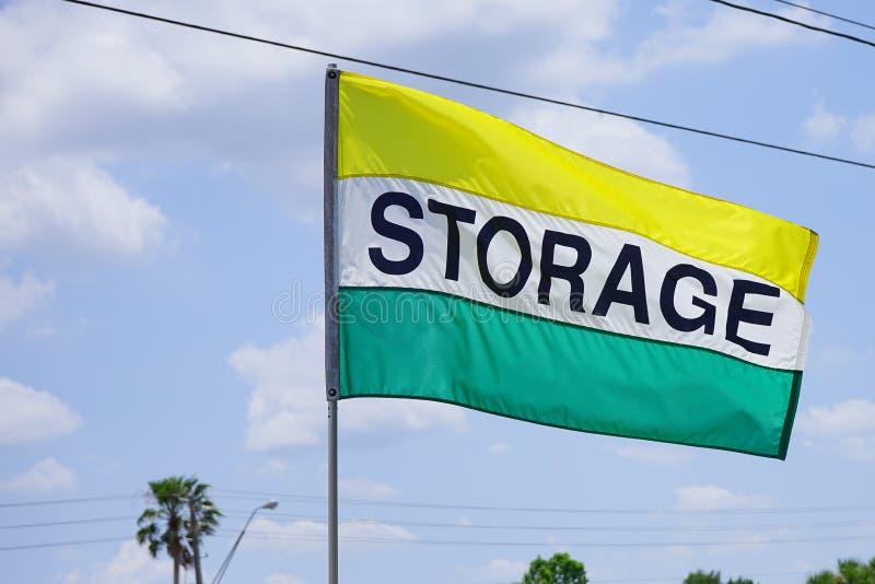Bandera del edificio de almacenamiento imagen de archivo