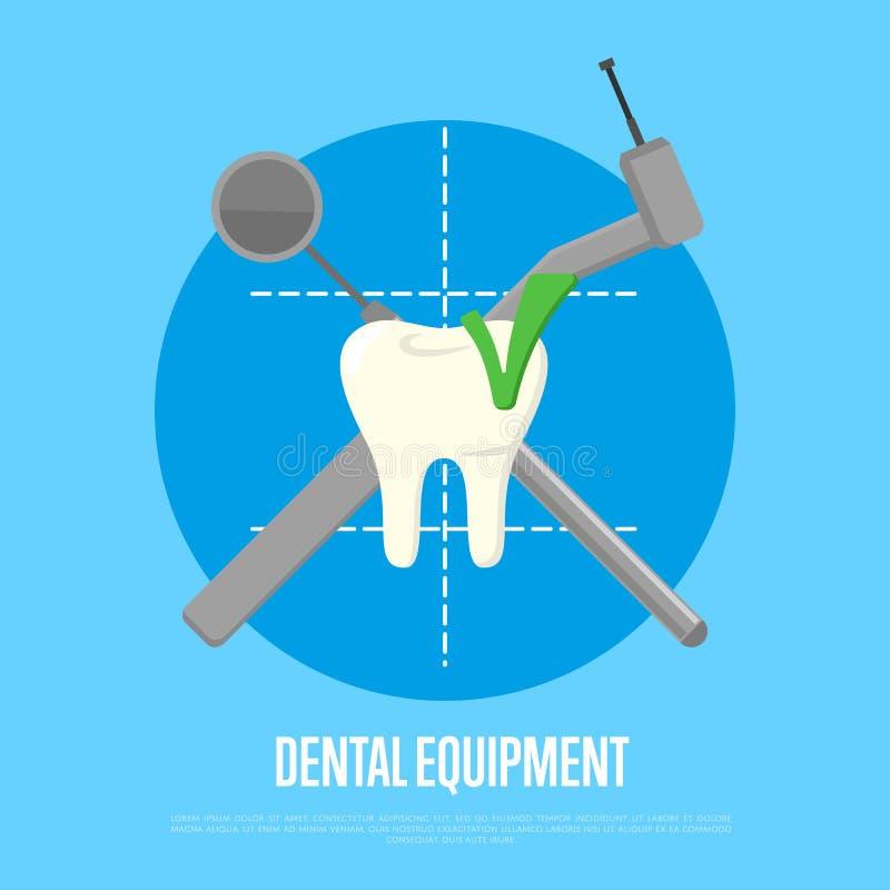 Bandera del equipo dental con los instrumentos de través ilustración del vector