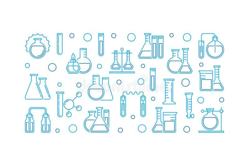 Bandera del esquema del equipo de laboratorio Ilustración del vector ilustración del vector