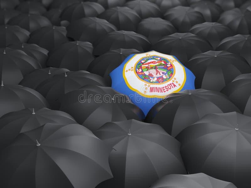 Bandera del estado de Minnesota en el paraguas Banderas del local de Estados Unidos ilustración del vector