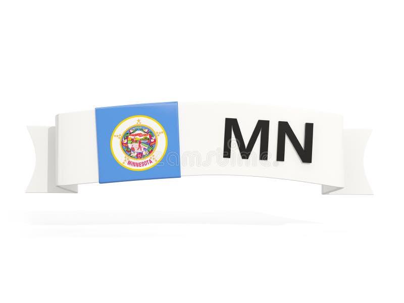 Bandera del estado de Minnesota en la bandera con la abreviatura postal aislada ilustración del vector