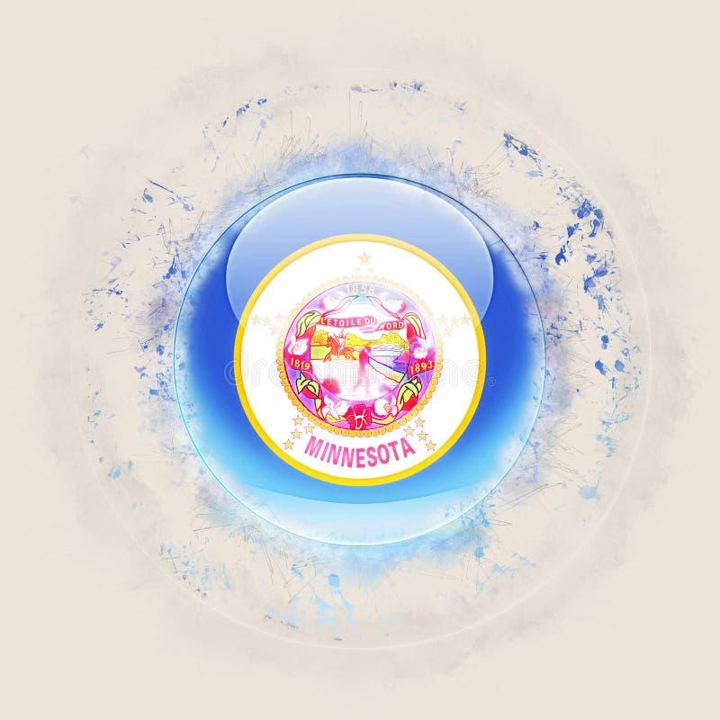 Bandera del estado de Minnesota en un icono redondo del grunge Local de Estados Unidos stock de ilustración