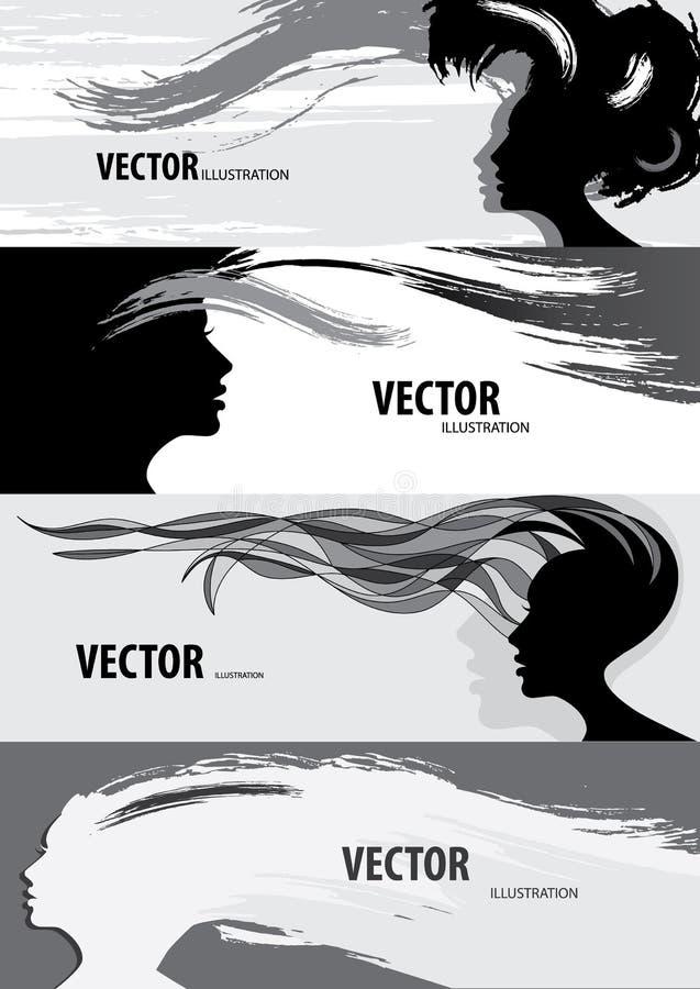 Bandera del estilo de pelo de la mujer stock de ilustración