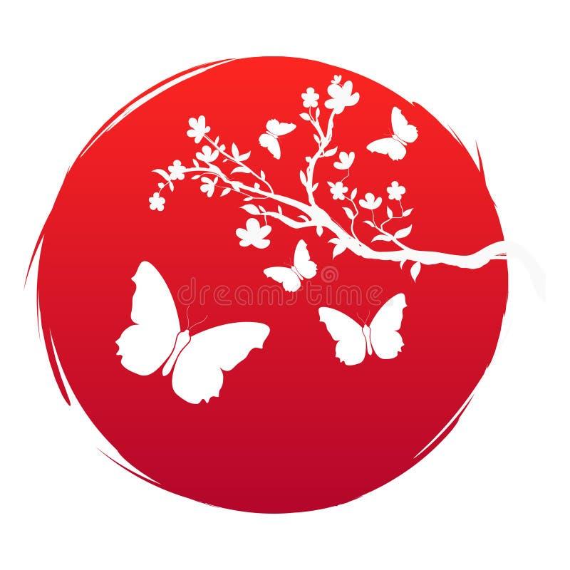 Bandera del estilo del Grunge del arte de Japón Rama con las flores de Sakura e icono de la mariposa de la silueta en el sol rojo stock de ilustración