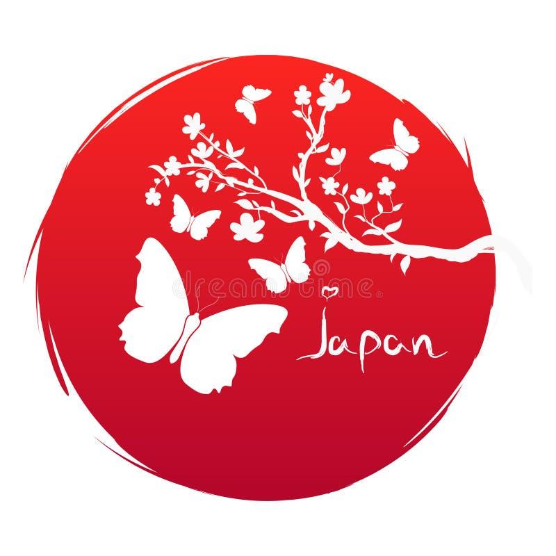 Bandera del estilo del Grunge del arte de Japón Rama con las flores de Sakura e icono de la mariposa de la silueta en el sol rojo ilustración del vector
