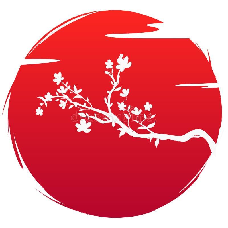 Bandera del estilo del Grunge del arte del icono de Jap?n La silueta florece las flores y nube de Sakura de la rama en el sol roj stock de ilustración