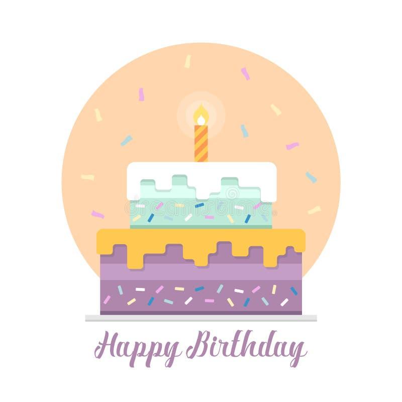 Bandera del feliz cumpleaños con la vela ligera en forma de la torta y del fuego artificial de la cinta y diseño en colores paste ilustración del vector