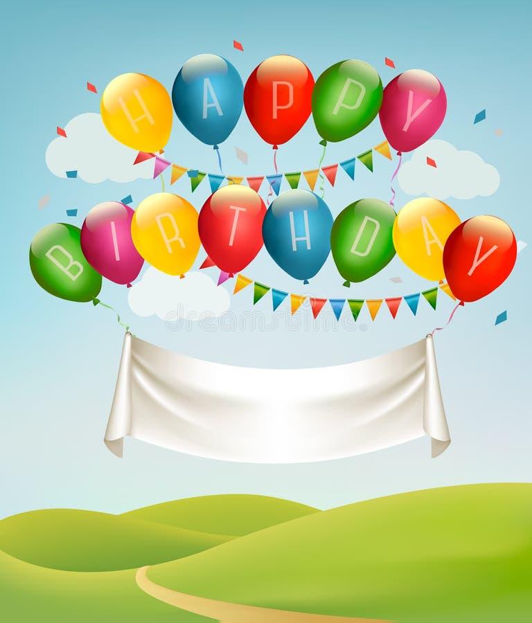 Bandera del feliz cumpleaños con los globos y paisaje stock de ilustración