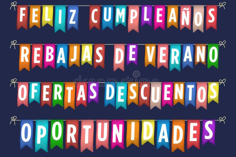 Bandera del feliz cumpleaños y de las ventas en español stock de ilustración