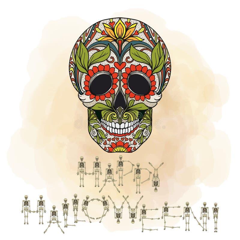 Bandera del feliz Halloween con el cráneo del azúcar libre illustration