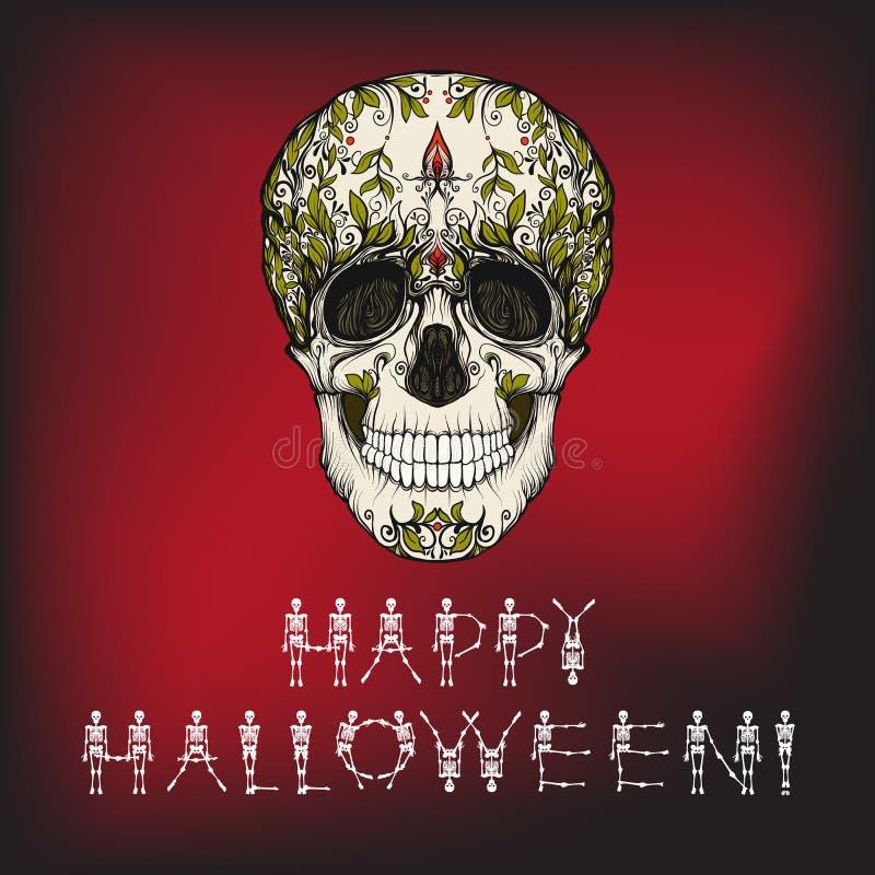 Bandera del feliz Halloween con el cráneo del azúcar ilustración del vector