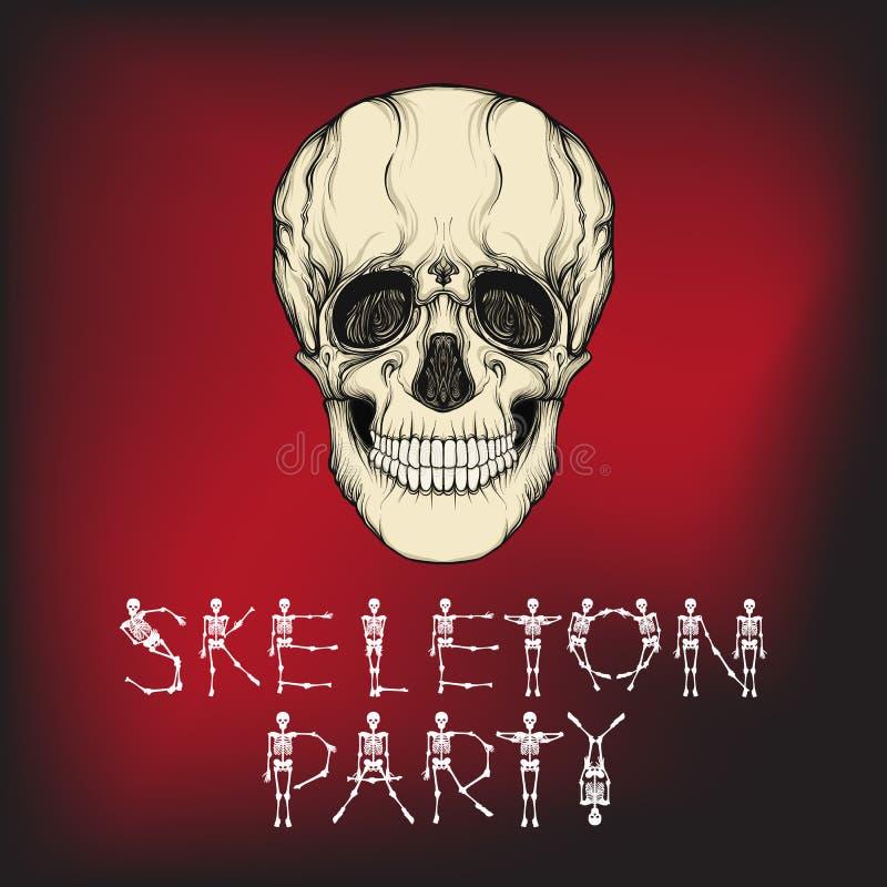 Bandera del feliz Halloween con el cráneo humano Bueno para Halloween o t ilustración del vector