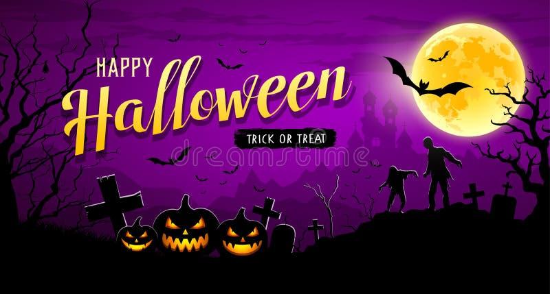 Bandera del feliz Halloween en fondo púrpura de la noche de la luna ilustración del vector