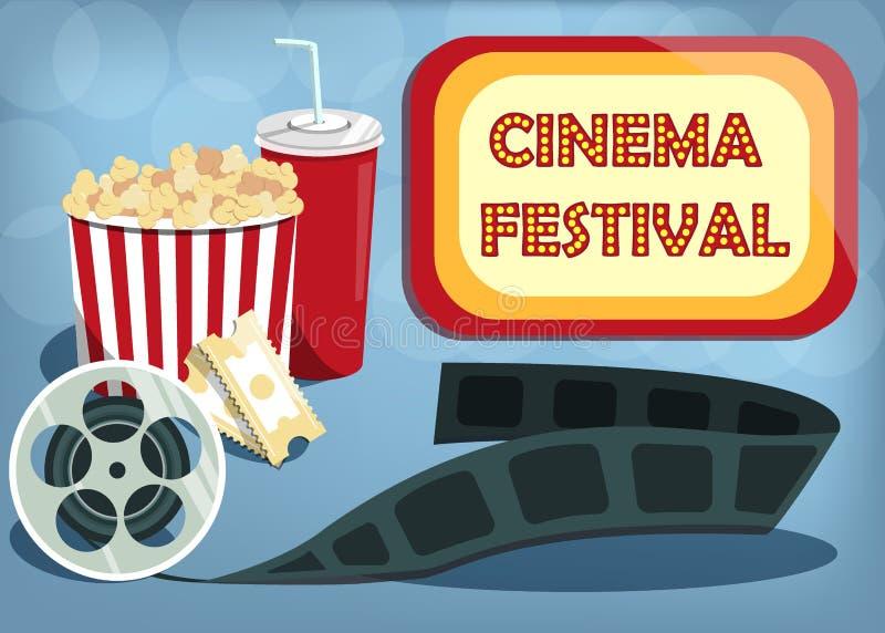 Bandera del festival del cine del vector Letrero con festival del cine de las palabras Pueda utilizado para la bandera, cartel, p stock de ilustración