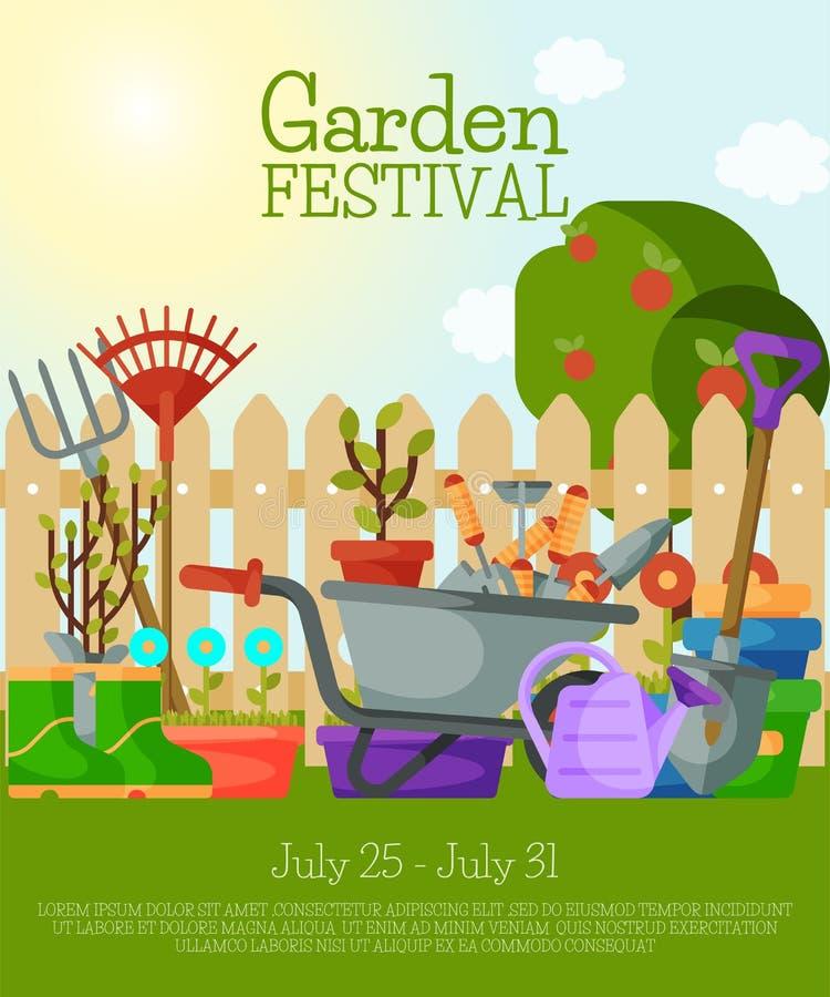 Bandera del festival del jardín, ejemplo del vector del cartel Herramientas para cultivar un huerto tal como carretilla, paleta,  libre illustration