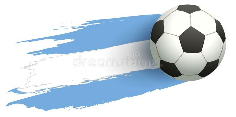 Bandera del fondo de la mosca del balón de fútbol de la Argentina libre illustration