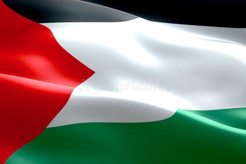 Bandera del fondo de la tela de la textura de la Franja de Gaza de Palestina que agita, de la crisis de Israel y del Islam Palest libre illustration