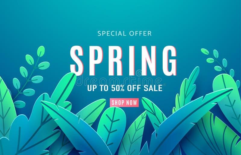 Bandera del fondo de la venta de la primavera con las hojas de la fantasía de la belleza Estilo cortado de papel aislado en el co ilustración del vector