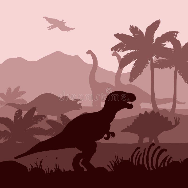 Bandera del fondo de las capas de las siluetas de los dinosaurios stock de ilustración