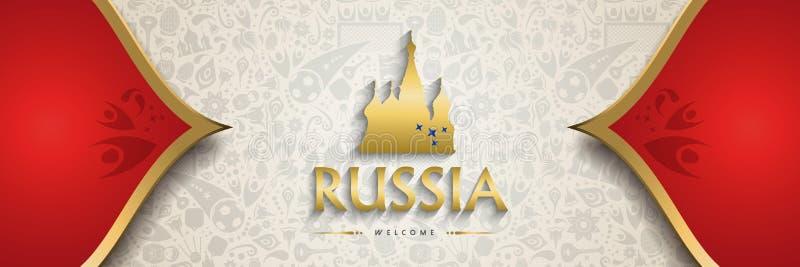 Bandera del fondo de Rusia para el evento del fútbol stock de ilustración