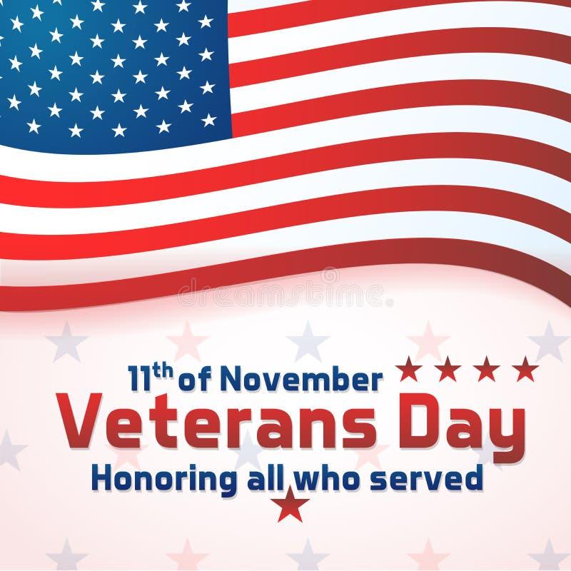 Bandera del fondo para el día de veteranos, celebración de los E.E.U.U. Diseño del vector que honra a todos que sirvieron Día de  ilustración del vector