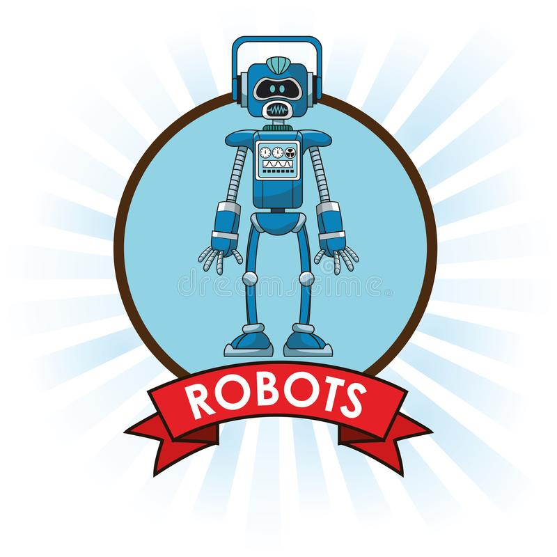 Bandera del futuro de la ciencia de la tecnología de los robots stock de ilustración