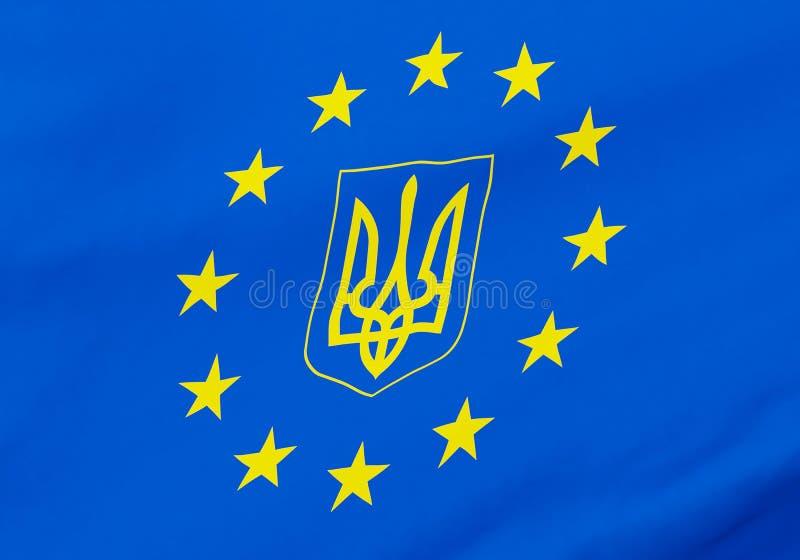 Bandera del gerb de Ucrania de la unión europea ilustración del vector